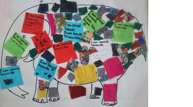 Elmer the elephant made by Children's meeting