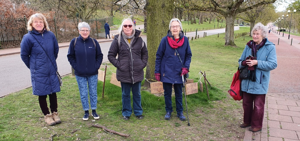 Photo of some Nottingham Quakers on their Journey to COP26 walk in Forest Recreation Ground, Nottingham
